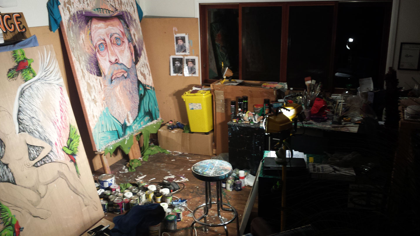 BEGINNINGS OF 'HAT FITZ-BEARDED BLUES' LATE NIGHT IN THE SOLITUDE ART STUDIO