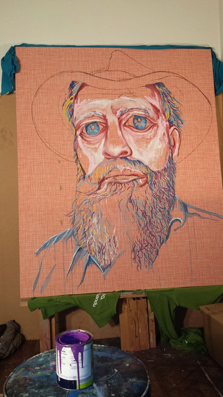 PROGRESS OF 'HAT FITZ- BEARDED BLUES BY DARREN TREBILCO