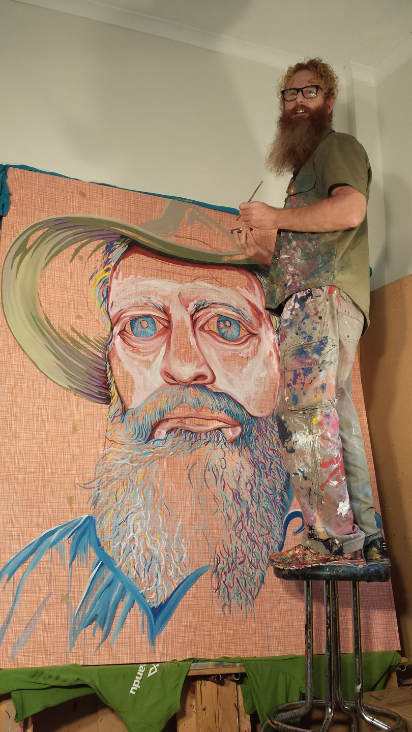 ARTIST DARREN TREBILCO PAINTING 2014 ARCHIBALD PORTRAIT ENTRY 'HAT FITZ- BEARDED BLUES'