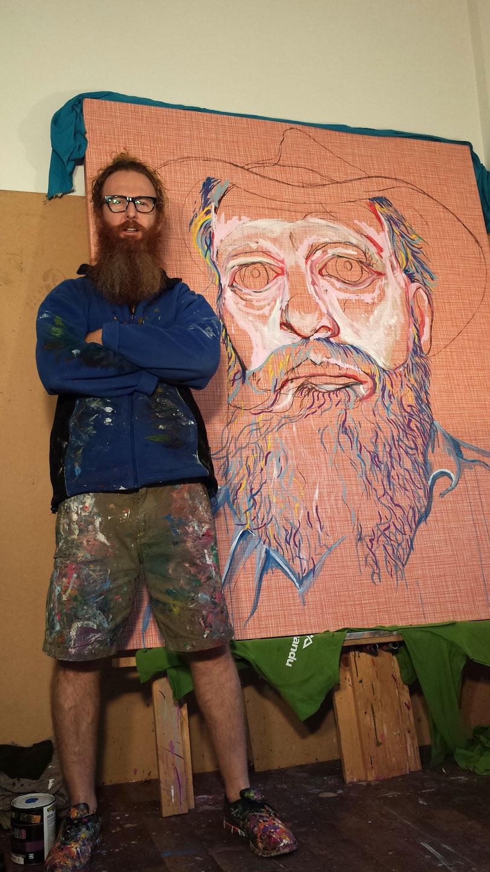 PROGRESS OF 'HAT FITZ - BEARDED BLUES' WITH ARTIST DARREN TREBILCO