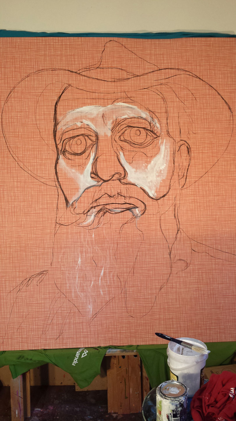 BEGINNINGS OF 'HAT FITZ - BEARDED BLUES' LAYING DOWN WHITE OVER WALLPAPER