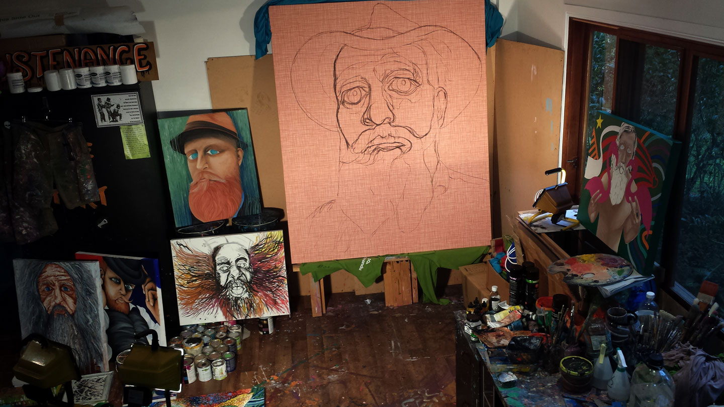 LATE NIGHT SESSIONS IN THE SOLITUDE ART GALLERY STUDIO - 'HAT FITZ - BEARDED BLUES'