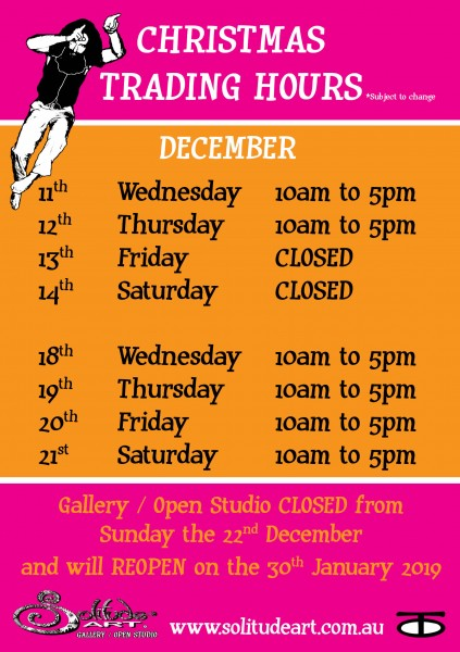 CHRISTMAS TRADING HOURS POSTER