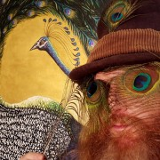 DARREN TREBILCO - PEACOCK EYES THE VISITOR - SOLITUDE ART GALLERY - 163 Glenview Road Glenview QLD 4553