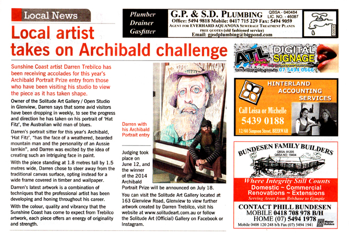 GC Newspaper Archibald Article 18th June 2014 Darren Trebilco