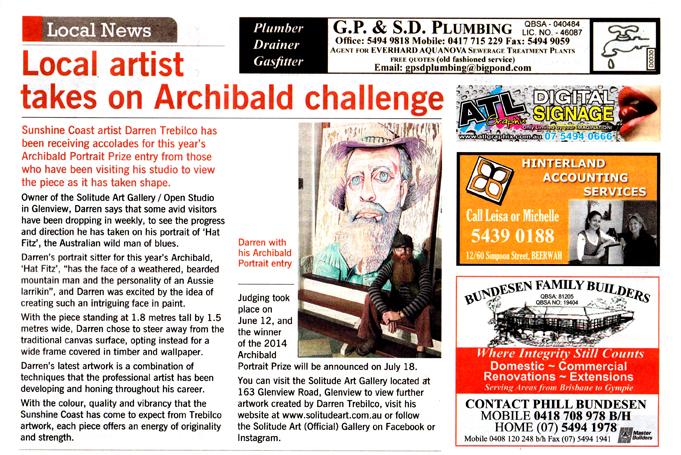 GC Newspaper Archibald Article 18th June 2014 Darren Trebilco