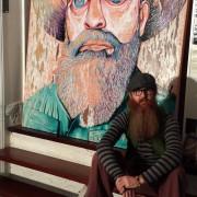 HAT FITZ BEARDED BLUES DARREN TREBILCO SITTING SOLITUDE ART GALLERY 2014 ARCHIBALD PORTRAIT ENTRY