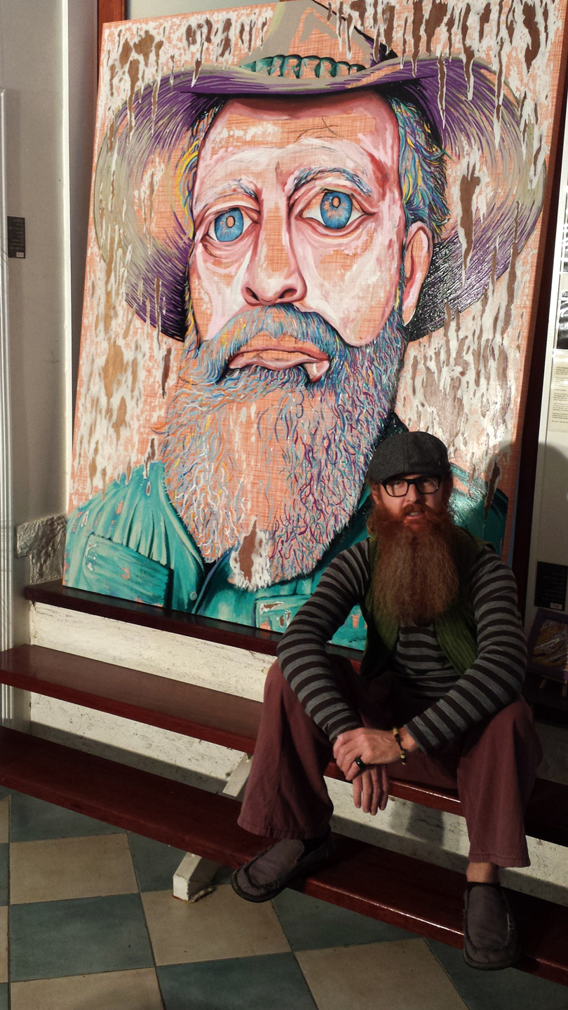 HAT FITZ BEARDED BLUES DARREN TREBILCO SITTING SOLITUDE ART GALLERY 2014 ARCHIBALD PORTRAIT ENTRY