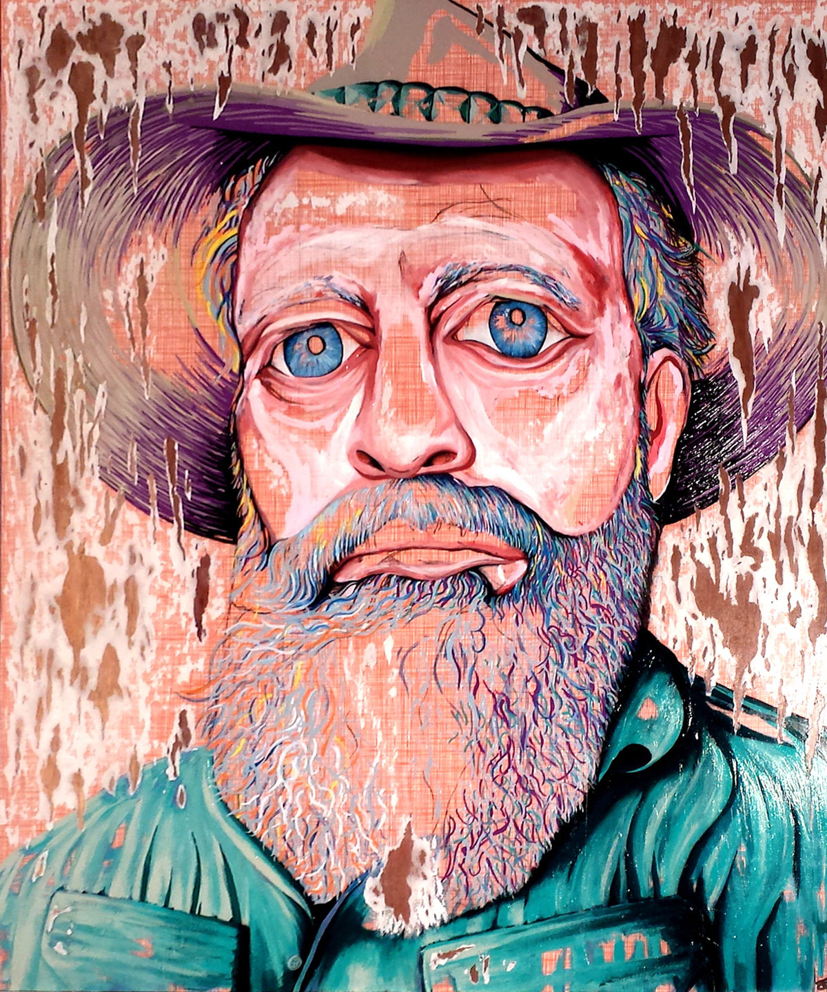 HAT FITZ BEARDED BLUES BY DARREN TREBILCO 2014 ARCHIBALD PORTRAIT ENTRY