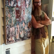 SUNSHINE COAST ARTIST DARREN TREBILCO STANDING WITH KING-DES