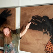LOYALTY and COURAGE Spirit Bird Diptych artist-Darren Trebilco flying with the Diptych at the Solitude Art Gallery, 163 Glenview Road, Glenview, QLD AUST