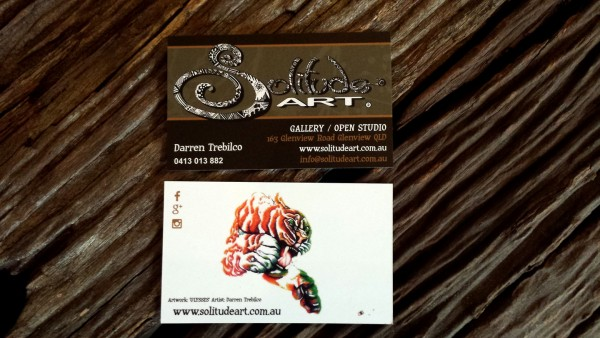 New business cards for the Solitude Art Gallery and Open Studio featuring the amazing 'ULYSSES'