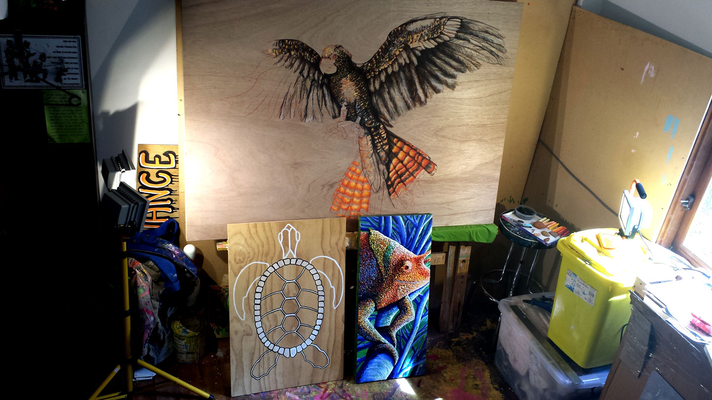 Current artwork near completion in the Solitude Art Gallery Studio in Glenview QLD