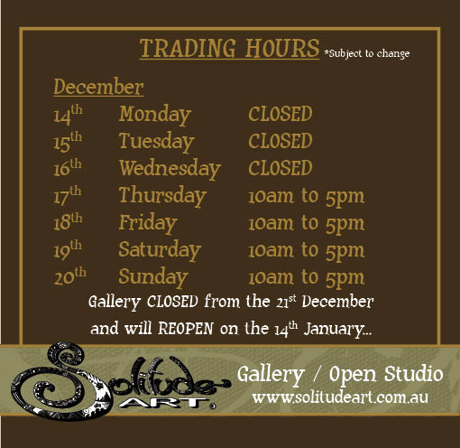 SOLITUDE ART CHRISTMAS TRADING HOURS DECEMBER