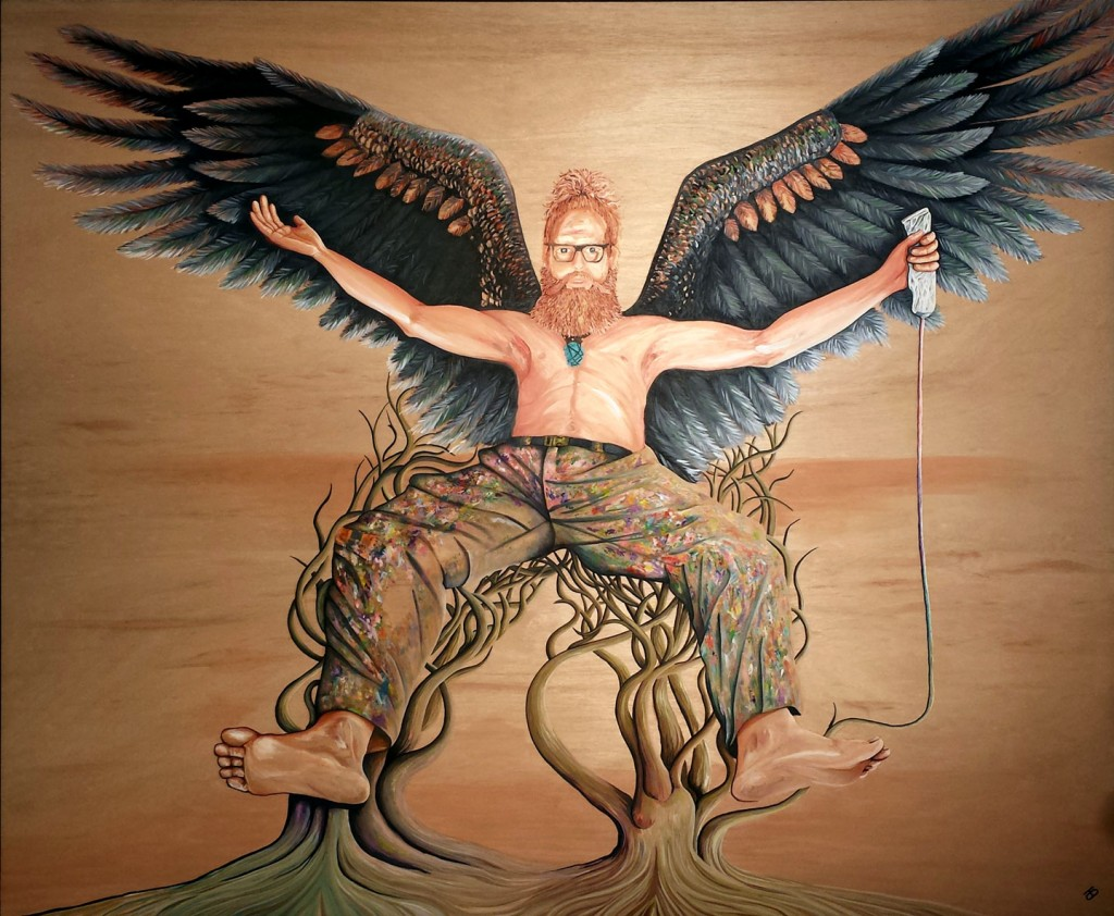 THE MAN WHO HAS NO IMAGINATION HAS NO WINGS - 2015 Archibald Portrait Entry - (Artist Darren Trebilco Self-Portrait)