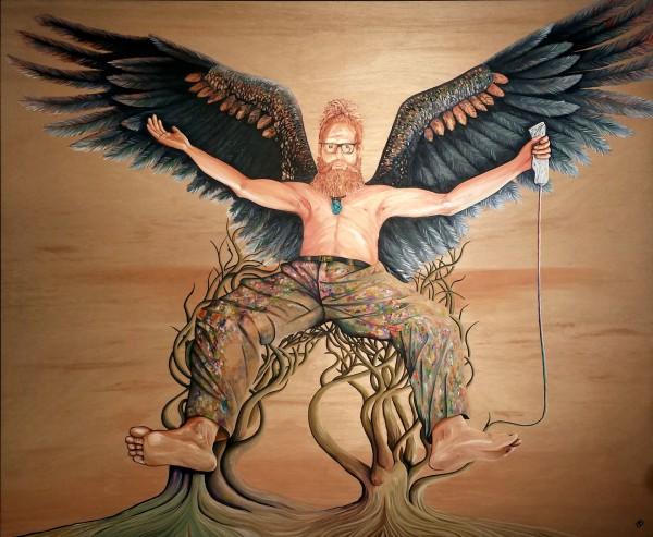 THE MAN WHO HAS NO IMAGINATION HAS NO WINGS - 2015 Archibald Portrait Entry - (Artist Darren Trebilco Self-Portrait)