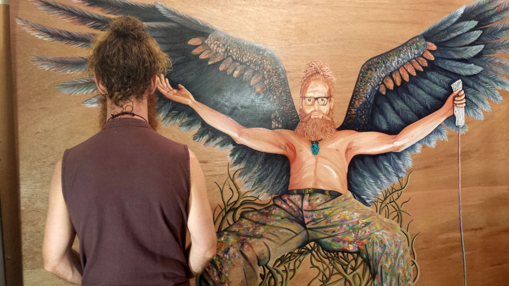 Darren Trebilco Self-Portrait for this years 2015 Archibald Portrait competition - 'THE MAN WHO HAS NO IMAGINATION HAS NO WINGS'