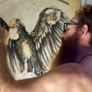 COURAGE – Spirit Bird Artist Darren Trebilco working in the studio